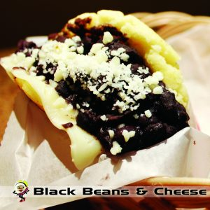 black bean and cheese arepa