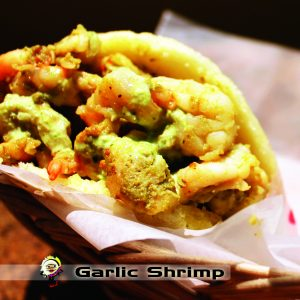 garlic shrimp arepa